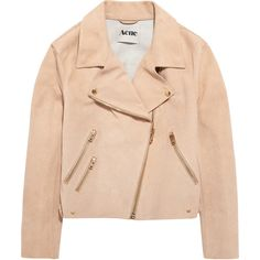 Acne Studios Rita suede aviator jacket (19.161.885 VND) ❤ liked on Polyvore featuring outerwear, jackets, snap jacket, pink jacket, aviator jacket, asymmetrical zip jacket and suede leather jacket
