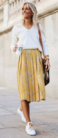 trendy casual outfit _ white sweater + bag + midi skirt + sneakers