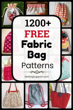 Free Bag Patterns - Free Bag Patterns to sew. Over 1200 sewing patterns, diy projects, and tutorials for fabric bags. Bag Patterns To Sew, Sewing Patterns Free, Sling Bag Patterns, Easy Tote Bag Pattern Free, Diy Sewing Projects, Sewing Tutorials, Bag Tutorials, Sewing Hacks, Fabric Bags
