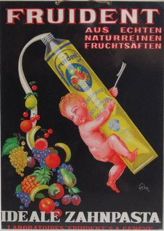 Fruident original advertising lithography vintage poster by Fehr from 1920 Switzerland. Shows a naked baby squeezes the toothpaste from which flies out fruits on black background.