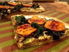 Kale With Love: Cauliflower Crust Pizza with Cream Cheese Pesto and Balsamic Glazed Sweet Potato