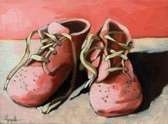 old baby shoes   Old Baby Shoes, original painting by artist Linda Apple ...