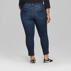 4deb852cda2d5 Women s Plus Size High-Rise Dark Wash Destructed Skinny Cargo Pants - Wild  Fable Blue 24W