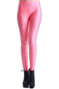 ROMWE   ROMWE Little White Dots Print Pink Leggings, The Latest Street Fashion #ROMWEROCOCO