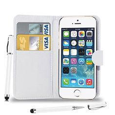 Apple iPhone 5S/5 - Leather Flip Case Cover Pouch   2 in 1 Touch Stylus Pen   Screen Protector  Polishing Cloth ( White ) *** This is an Amazon Affiliate link. Details can be found by clicking on the image.