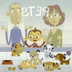 #MichaelRobertson #illustration #children #childrensbooks #pets #animals #puppyLove #whimsical #humorous #lindgrensmith