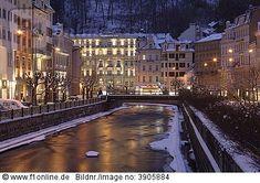 Carlsbad, Karlovy Vary, with Grand Hotel PUPP at night, Czech Republic