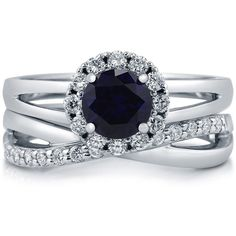 BERRICLE Sterling Silver Simulated Blue Sapphire CZ Halo Split Shank... ($100) ❤ liked on Polyvore featuring jewelry, rings, accessories, 2 piece split shank ring set, sapphire, sterling silver, women's accessories, cz engagement rings, wedding band rings and anniversary rings