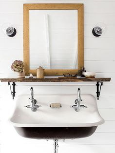 Installing next week for our toddler friends . Brockway sink and Cannock faucets. // The Kohler Brockway brings us the classic industrial design with quality and durability. Kohler Brockway Sink, Bathroom Inspiration, Boys Bathroom, Bathrooms Remodel, Vintage Sink, Sink, Cottage Bathroom, Bathroom Design, Home Renovation