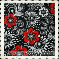 BonEful Fabric FQ Cotton Quilt Red Black White Flower Toile Swirl Scroll | eBay
