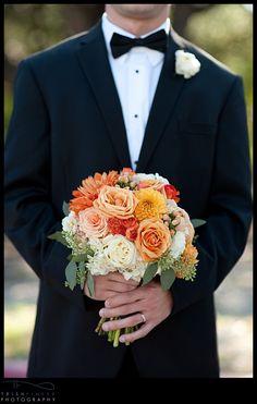 orange, peach, coral, ivory and sage bouquet