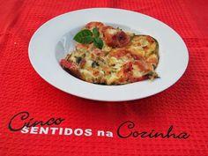 Cinco sentidos na cozinha: Courgette e tomate gratinado no forno com queijo