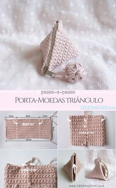 Porta-moedas triângulo passo-a-passo The Effective Pictures We Offer You About DIY Hair Accessories feathers A quality picture can tell you many things. You can find the most beautiful pictures that c Crochet Diy, Love Crochet, Crochet Gifts, Crochet Motif, Crochet Stitches, Crochet Wallet, Crochet Coin Purse, Crochet Purse Patterns, Crochet Purses