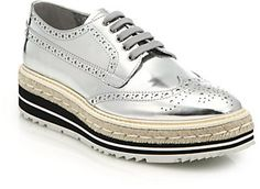 Prada Espadrille & Rubber-Platform Metallic Brogues on shopstyle.com