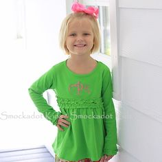 2/14/2013   Green Long Sleeve Knit Ruffle Top