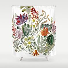 Succulents++Shower+Curtain+by+Hannah+Margaret+Illustrations+-+$68.00