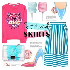 """""""Striped Skirt ~ FSJ #18"""" by alexandrazeres ❤ liked on Polyvore featuring Miss Selfridge, Kenzo, Topshop, Cotton Candy, kenzo, stripes, fsjshoes and fsj"""