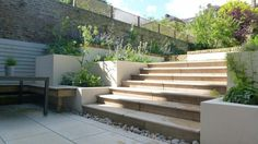 Jura Beige Limestone Paving, along with matching Step Treads . Just look at combination of rendered walls, brick walls and limestone paving Hard Landscaping Ideas, Backyard Landscaping, Backyard Ideas, Patio Steps, Garden Steps, Garden Design Images, Landscape Design, Sunken Patio, Limestone Paving