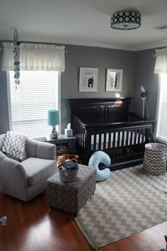 I love grey for a nursery. You can switch out the accessories and accents for each baby. This is like what I wanna do for my next baby gray and chevrons and then just choose another color to be a pop depending on the gender