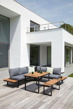 Merida loungeset zwart-grijs - aluminium met polywood en polyester - 6 personen - Exterioo Tuinmeubelen Merida, Outdoor Furniture Sets, Outdoor Decor, Lounges, Aluminium, Sun Lounger, Patio, Inspiration, Home Decor