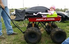 Daughter in her lifted radio flyer Custom Radio Flyer Wagon, Radio Flyer Wagons, Boy Toys, Toys For Boys, Kids Wagon, Power Wheels, Kids Ride On, Go Kart, Flyers