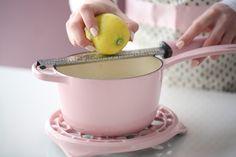 Lemon & White Chocolate Mousse Cake   Manuela Kjeilen   The Inspired Home Lemon Mousse Cake, White Chocolate Mousse Cake, Sweet Condensed Milk, Vanilla Paste, Baking Parchment, Creamed Eggs, Frozen Cake, Cake Batter, Corn Syrup
