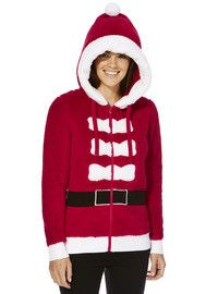 F&F Mrs Santa Zip-Through Fleece Hoodie