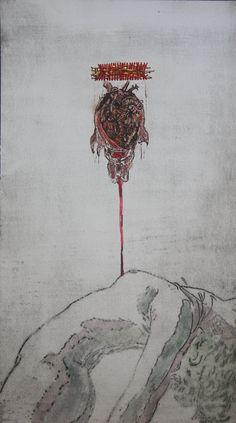 Vitor Novato-Dor Gravura em metal, xilogravura, guache e bordado sobre papel. 19x34cm