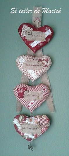 - by Cris Figueired♥ Valentine Heart, Valentine Crafts, Holiday Crafts, Valentines, Deco Boheme Chic, Sewing Crafts, Sewing Projects, Patchwork Heart, Fabric Hearts