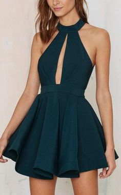 Cheap Homecoming Dresses Cheap 2016 Dark Green Jewel Collar Ruffled Semi Formal Dresses Graduation Dress from Happybridal - Abend Kleid Green Homecoming Dresses, Junior Prom Dresses, Dresses Short, Backless Prom Dresses, A Line Prom Dresses, Cheap Dresses, Sexy Dresses, Dress Outfits, Dress Prom