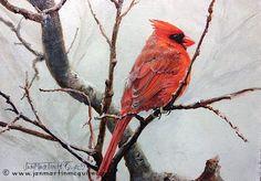 Northern Red Cardinal - Bird painting by Jan Martin McGuire - Wildlife Artist, Naturalist, Adventurer - Featured Originals for Sale