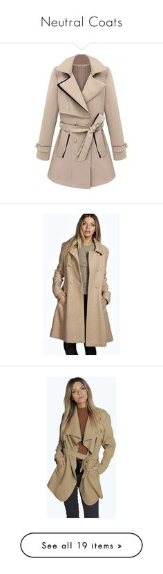 """""""Neutral Coats"""" by mariabatty on Polyvore featuring outerwear, coats, casaco, colorblock coat, double breasted coat, lapel coat, brown coat, color block coat, camel and camel wrap coat"""