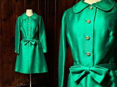 SALE 1960s dress  emerald green  a line skirt  von vintagearchives