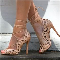 Shoespie Lace up Peep toe Stiletto Heels