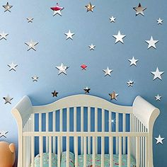 $9.90  - DIY Acrylic Star Mirror Stickers Wall Decor Baby  Child Room Decoration 20pcs Silver * Be sure to check out this awesome product. (This is an affiliate link) #WallStickersMurals