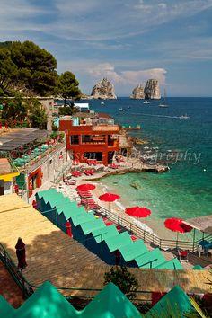 The beach at Marina Piccola on the Island of Capri, Campania, Italy.