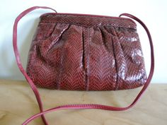 Vintage Red Leather Crossbody Bag by altastyles on Etsy, $20.00