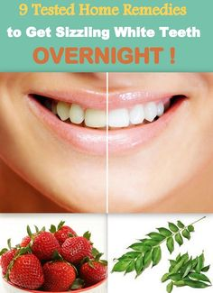 "Now you can get Sizzling ""WHITE TEETH OVERNIGHT"" ! Yes, we are not kidding ! That too with 9 Tested Home Remedies. No visit to dentist, no chemicals, no special toothpaste ! All natural therapies ! This is just WOW! http://www.feminiya.com/9-home-remedies-to-get-white-teeth-overnight/"