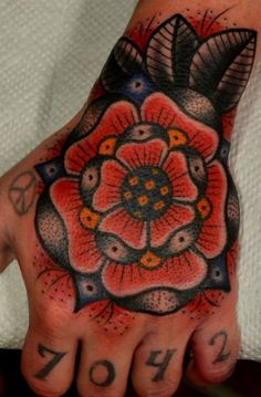 Poppy Flower Tattoo Traditional Traditional red rose hand