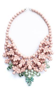 Pink And Green Misha Necklace by Ek Thongprasert X Natasha Goldenberg for Preorder on Moda Operandi #jewelry #necklace #statement #stones #retro #ombre #fashion #unique #fabulous