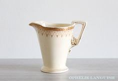 Art Deco Cream Burleigh Zenith Sugar Bowl and Creamer w/ Gilded Leaf Handle, Intricate Scroll Motif & Gold Encrusted Band Pattern: on base Sugar Bowls And Creamers, Floral Theme, Caramel Color, Coffee Set, Pattern Names, Chocolate Coffee, Tea Party, Art Deco, Handle