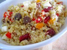 No-Nanoosh Quinoa Salad: red and yellow bell pepper, shallot, raisins or cranberries, chopped nuts, feta, EVOO, lemon juice, honey, s