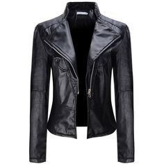 Faux Leather Plain Zipper Classical Lapel Jacket ($29) ❤ liked on Polyvore featuring outerwear, jackets, long faux leather jacket, vegan jackets, fake leather jacket, leather look jackets and faux leather zip jacket