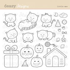 Little Mao will be fit for any occasion.  This set is perfect for creating greeting cards, invitations, scrapbooks   and  anything else you can imagine. Color them and you will have fun!