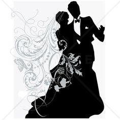 Silhouette Wedding Couple Counted Cross Stitch Pattern   CinnamonWoodsCrafts - Needlecraft on ArtFire