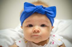 Royal Blue Cotton Knit Knotted Baby Headband - Available in Newborn, Infant, Toddler, and Child Sizes!