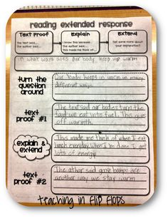 reading response worksheet - restating question and using text evidence