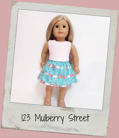 18 Doll Clothes AG doll clothes Blush Chevron by 123MULBERRYSTREET