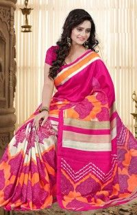 Trendy Pink Bhagalpuri Saree with Blouse