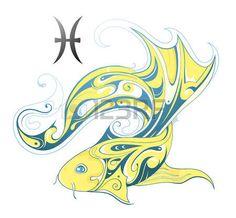 tatouage poisson: Poissons forme de conception créative avec signe astrologique